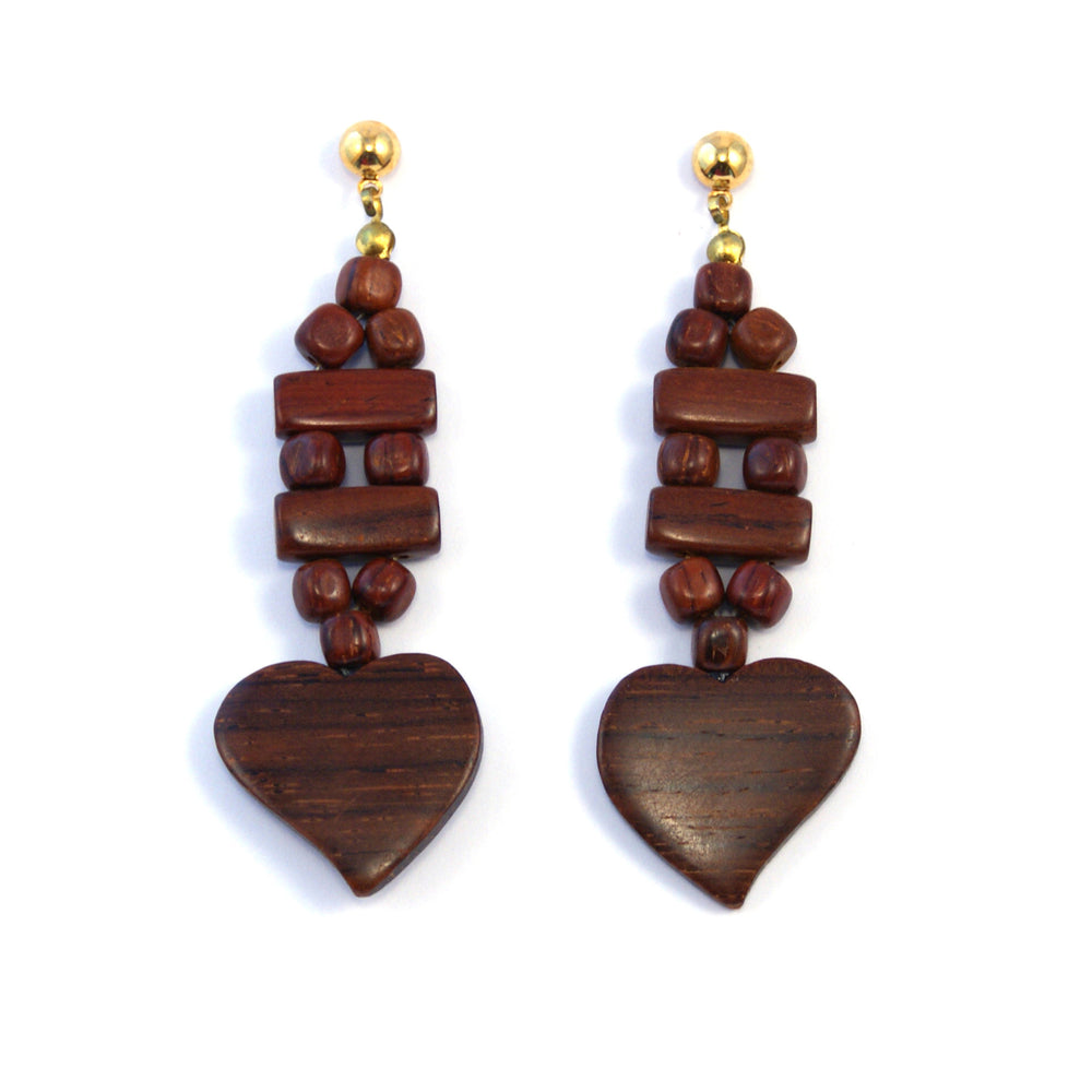 TICA SURF Unique exotic wood pendant earrings - Busy Hearts - EE1101