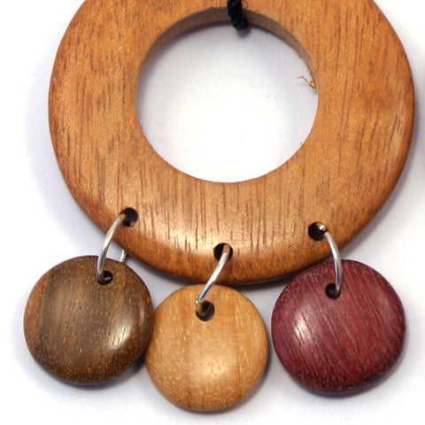 TICA SURF Unique fancy exotic wood pendant earrings - Light wheel rounds