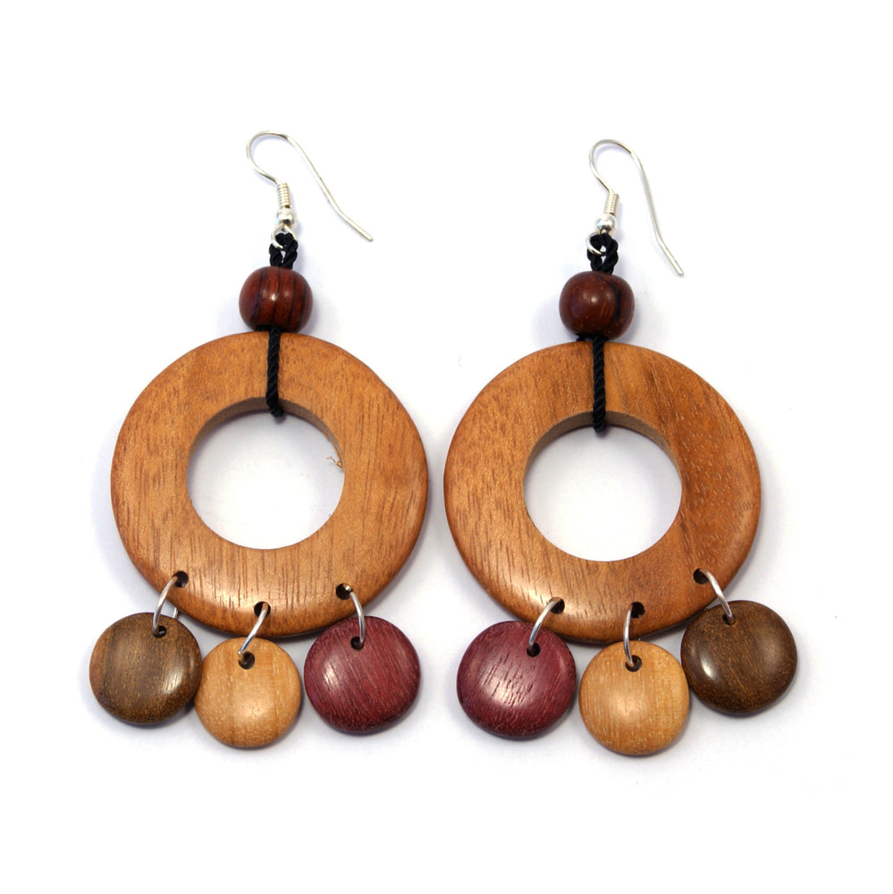 TICA SURF Unique fancy exotic wood pendant earrings - Light wheel rounds - EE1107