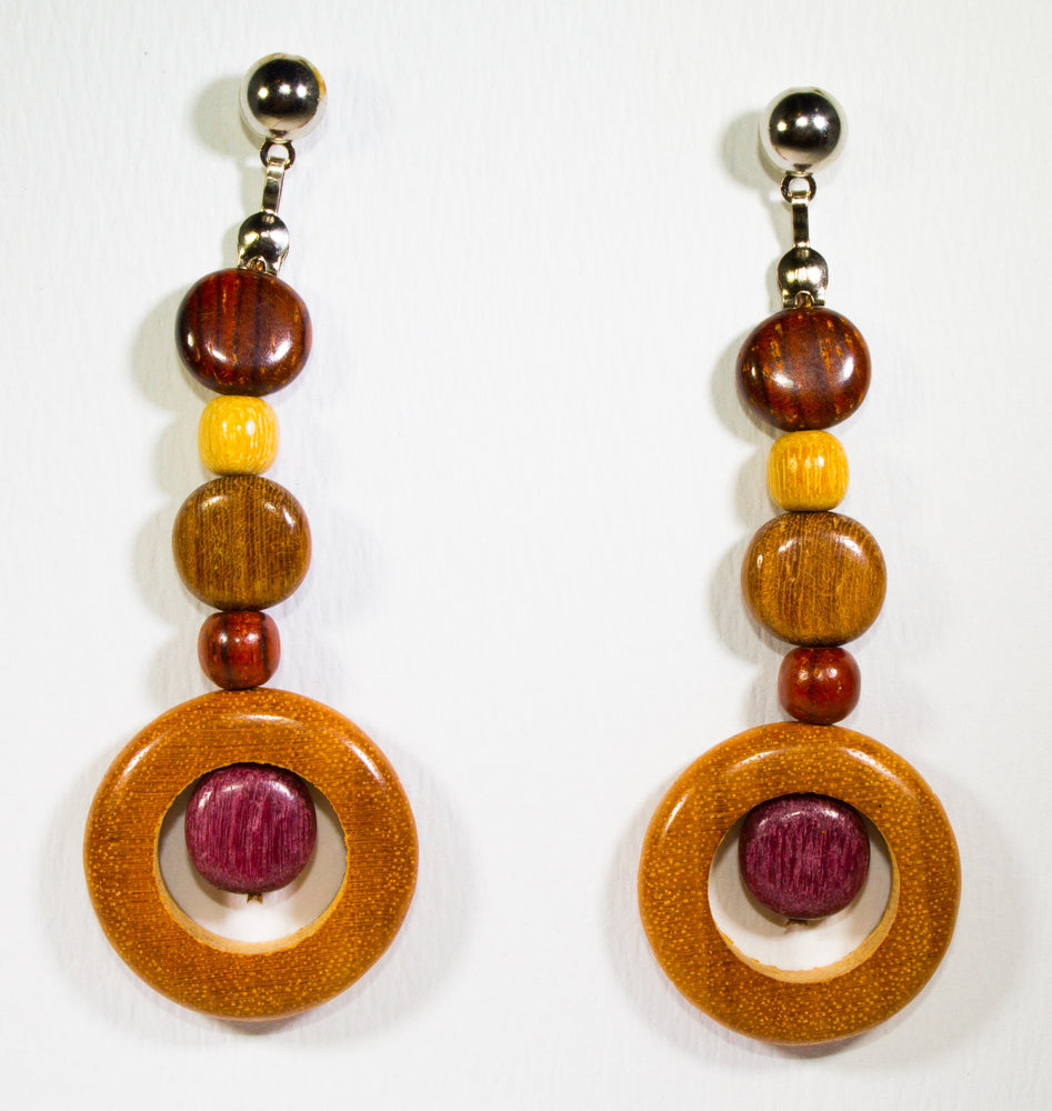 TICA SURF Unique fancy exotic wood pendant earrings - Eyes pendant rounds - EE11108