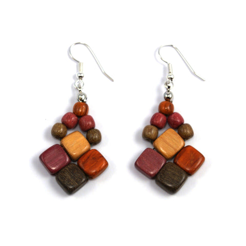 TICA SURF Unique fancy exotic wood pendant earrings - Microbeads squares