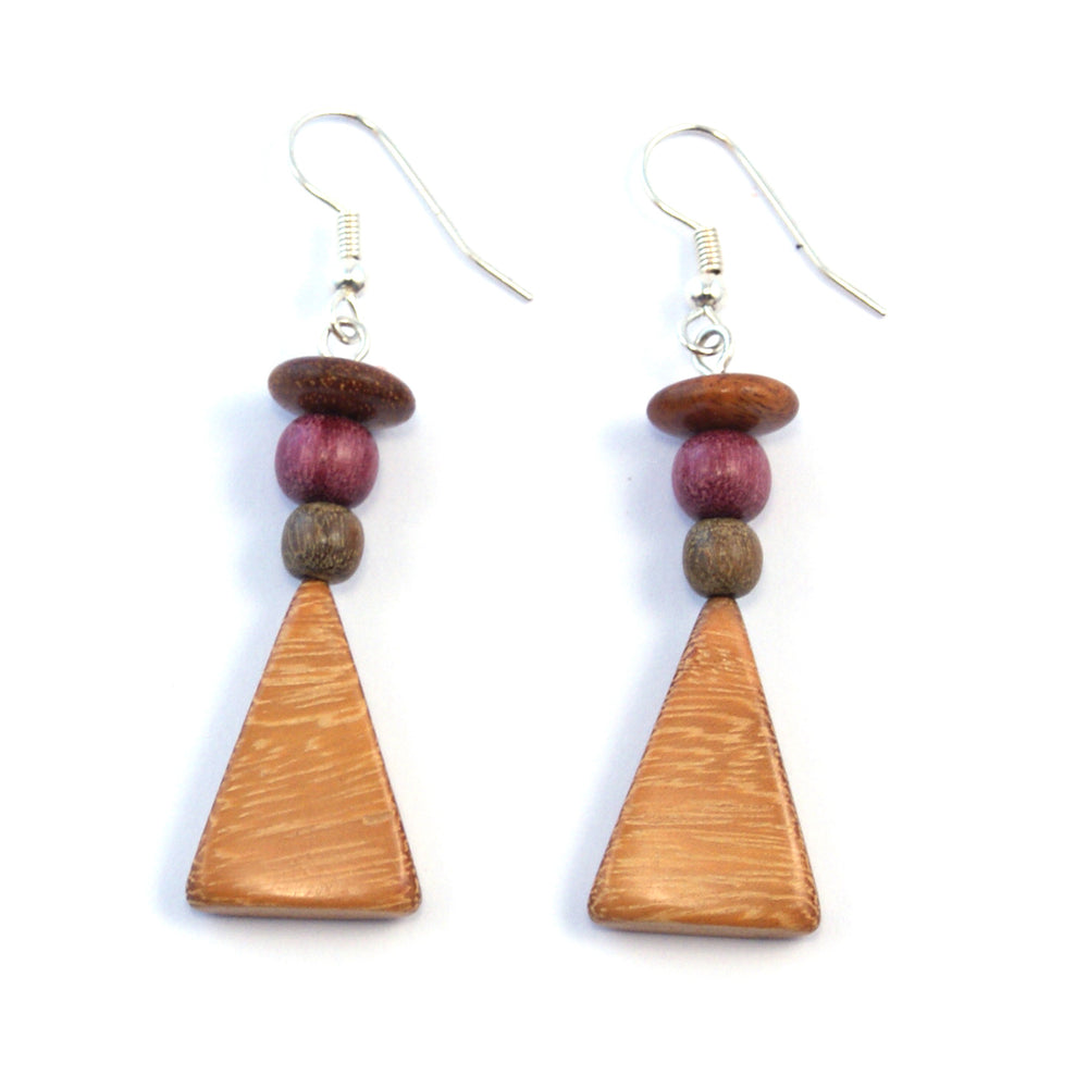 TICA SURF Unique fancy exotic wood pendant earrings - Pyramid Pendant - EE11131