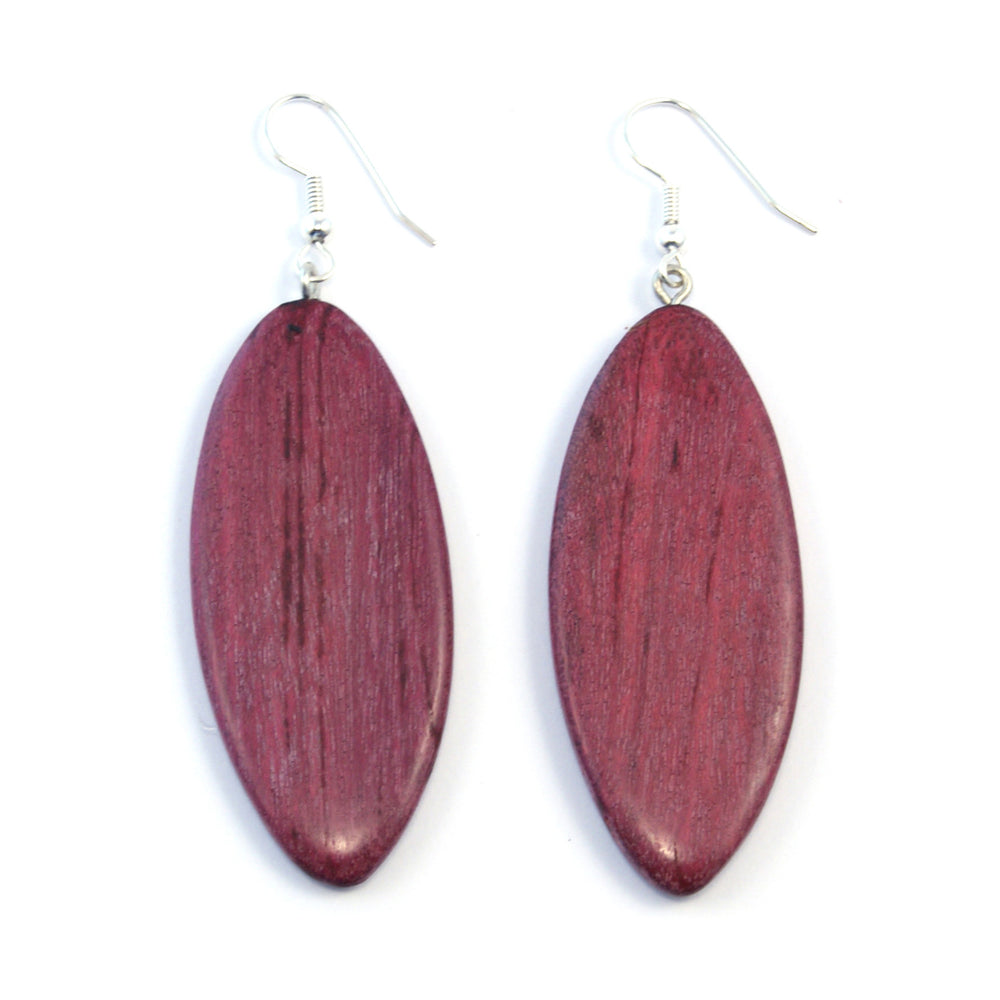 TICA SURF Unique fancy exotic wood pendant earrings - Oval Pendant Long - EE11144