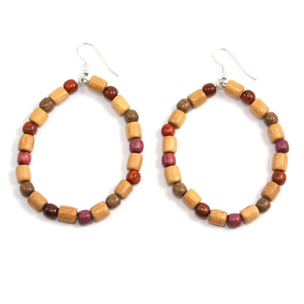 TICA SURF Unique fancy exotic wood hoop earrings - Cylinder beads - EE11301