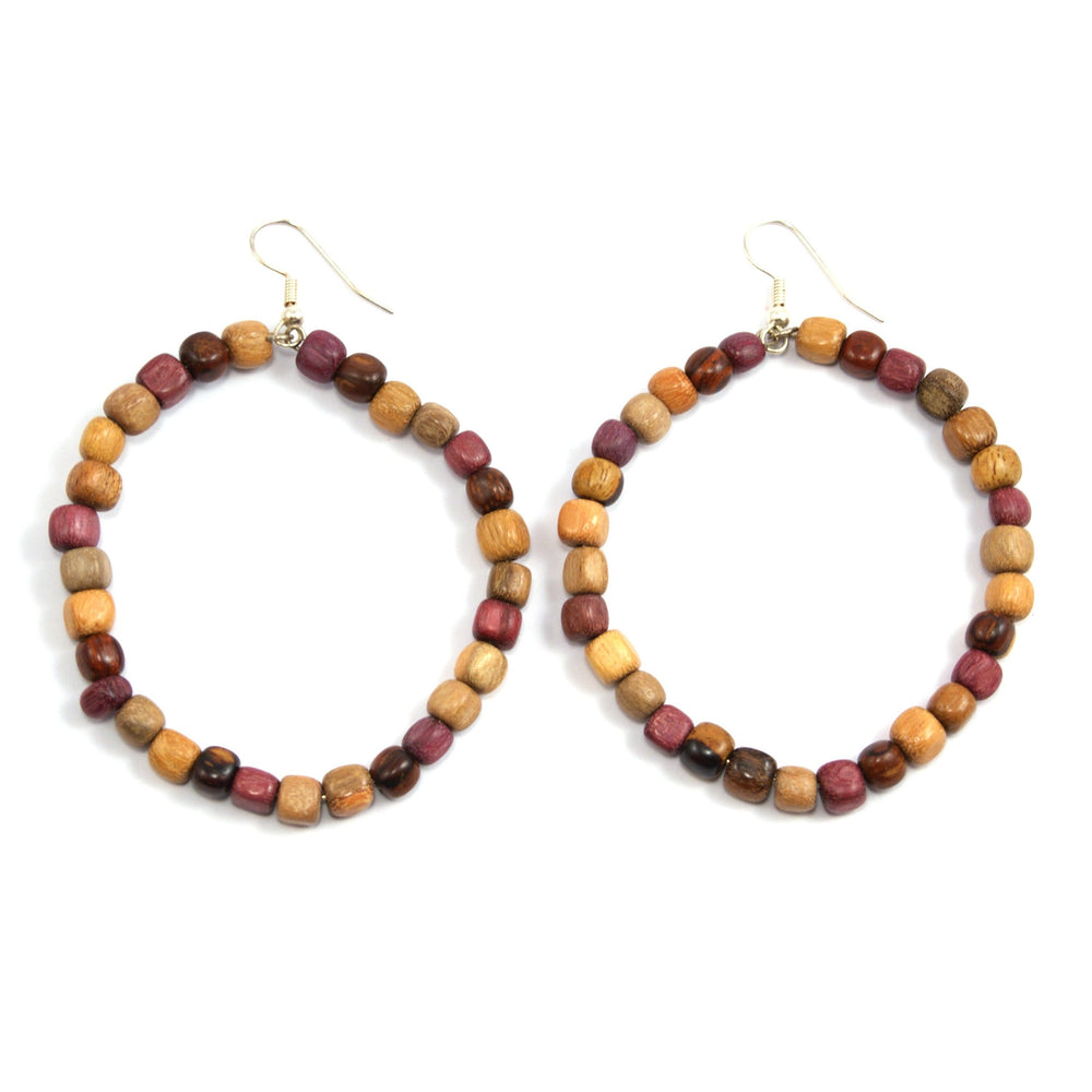 TICA SURF Unique fancy exotic wood hoop earrings - Square beads - EE11302