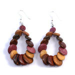 TICA SURF Unique fancy exotic wood pendant earrings - Multi Rounds Hoop - EE1137