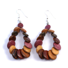 TICA SURF Unique fancy exotic wood pendant earrings - Multi rounds hoop
