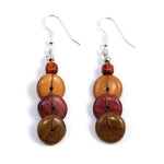 TICA SURF Unique fancy exotic wood pendant earrings - Multi Discs String - EE1148 - TicaSurf USA