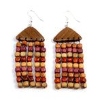TICA SURF Unique fancy exotic wood pendant earrings - Pyramid Rain - EE1161