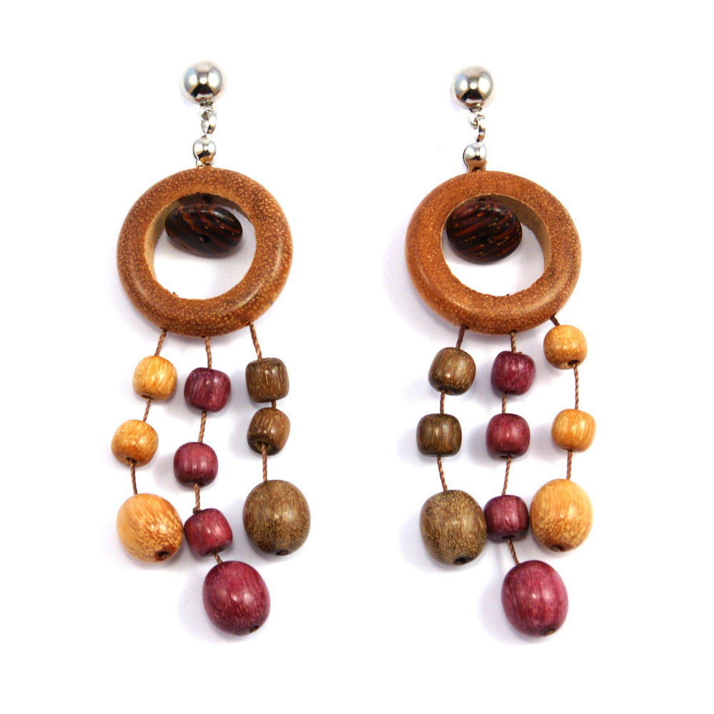TICA SURF Unique fancy exotic wood pendant earrings - Multicolor eyes rain - EE1164
