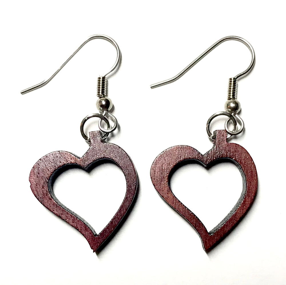 TICA SURF Unique fancy exotic wood pendant earrings - Heart Frame - EE1167