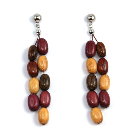 TICA SURF Unique fancy exotic wood pendant earrings - Multicolor oval beads