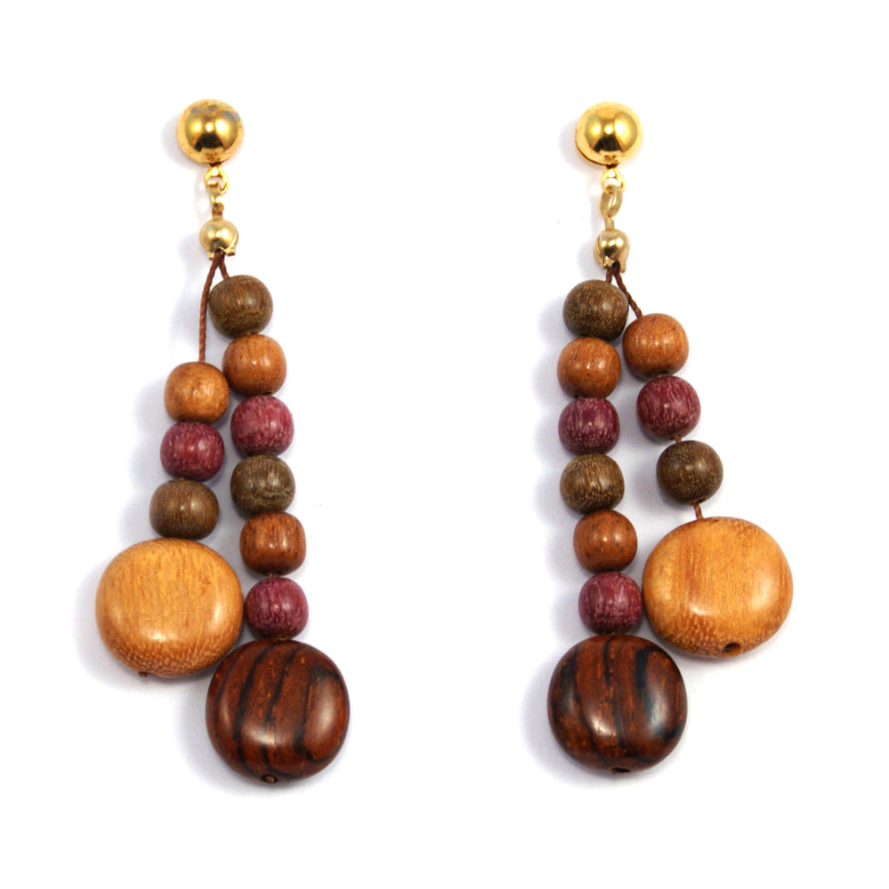 TICA SURF Unique fancy exotic wood pendant earrings - Multicolor microbeads rounds - EE1182