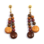 TICA SURF Unique fancy exotic wood pendant earrings - Multicolor microbeads rounds - EE1182 - TicaSurf USA
