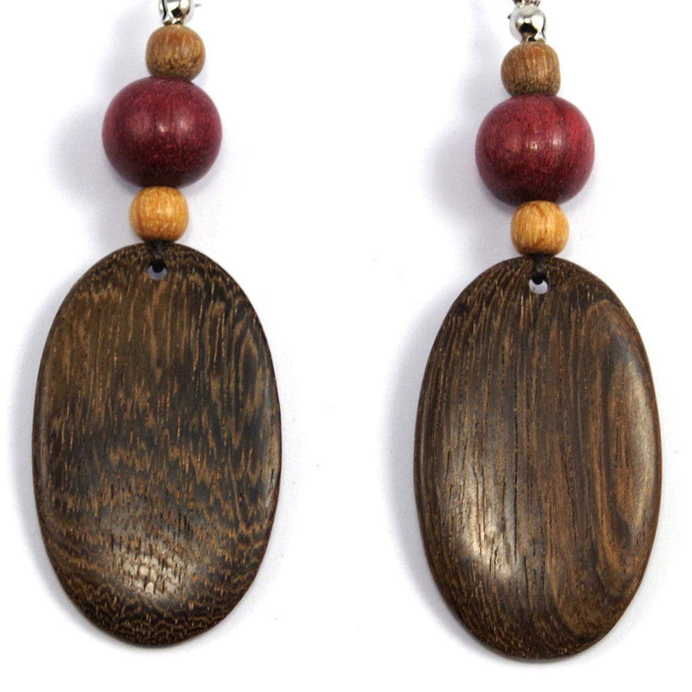 TICA SURF Unique fancy exotic wood pendant earrings - Oval pendants large - EE1198 - TicaSurf USA