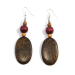 TICA SURF Unique fancy exotic wood pendant earrings - Oval pendants large - EE1198