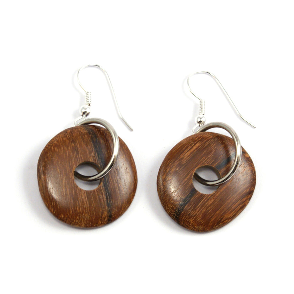 TICA SURF Unique exotic wood pendant earrings - Ring Wheels - EE1320 - TicaSurf USA