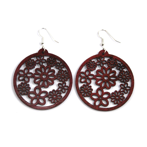 TICA SURF Unique laser cut exotic wood pendant earrings - Flowers dark