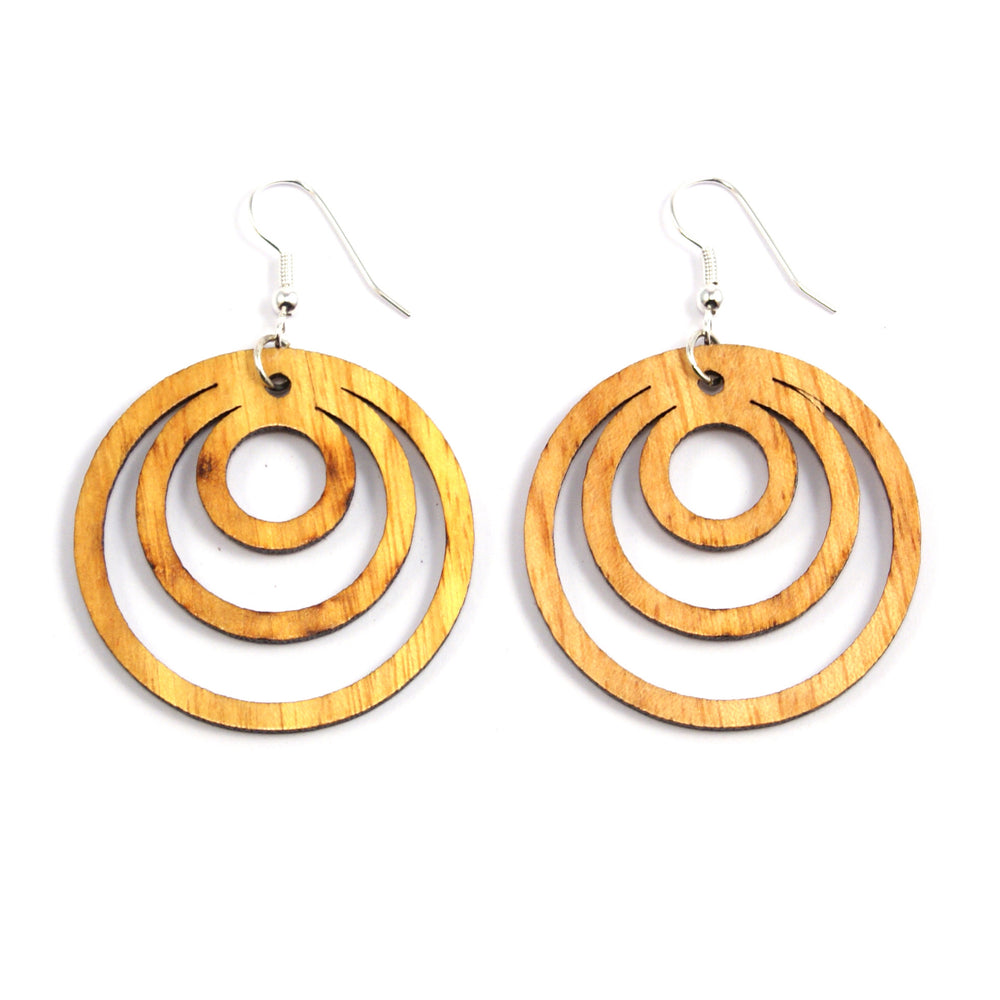TICA SURF Unique laser cut exotic wood laser cut pendant earrings - Multi Rings - EE1341B - TicaSurf USA