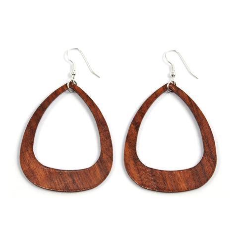 TICA SURF Unique laser cut exotic wood pendant earrings - Pyramid hoops