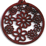 TICA SURF Unique laser cut exotic wood pendant earrings - Flowers dark - EE1353 - TicaSurf USA