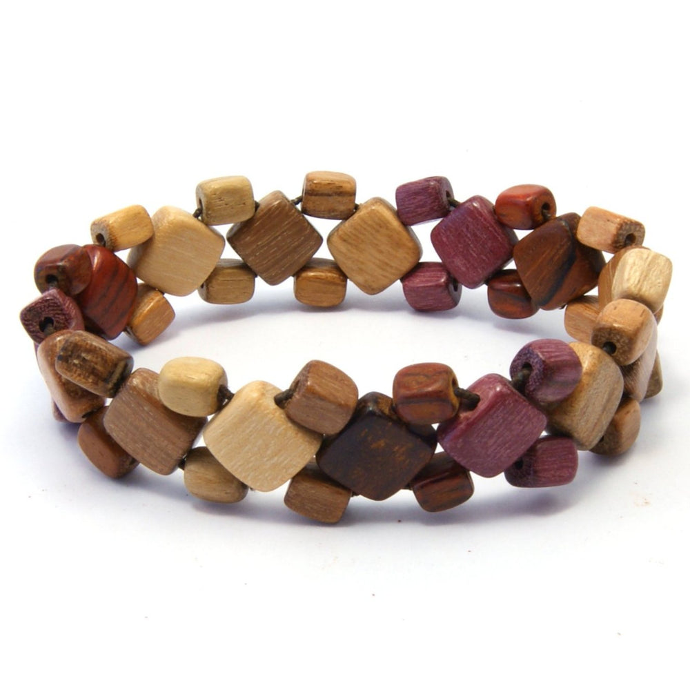 TICA SURF Unique exotic wood bracelet - Mini Diamond Beads - EE1604