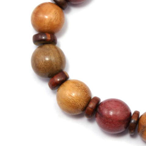 TICA SURF Unique exotic wood bracelet- Multicolor round beads S