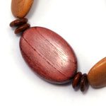 TICA SURF Unique exotic wood bracelet - Multicolor Oval Beads S - EE1639 - TicaSurf USA