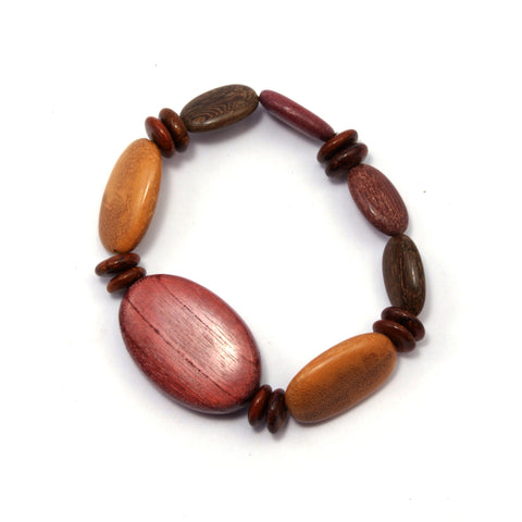 TICA SURF Unique exotic wood bracelet - Multicolor oval beads S