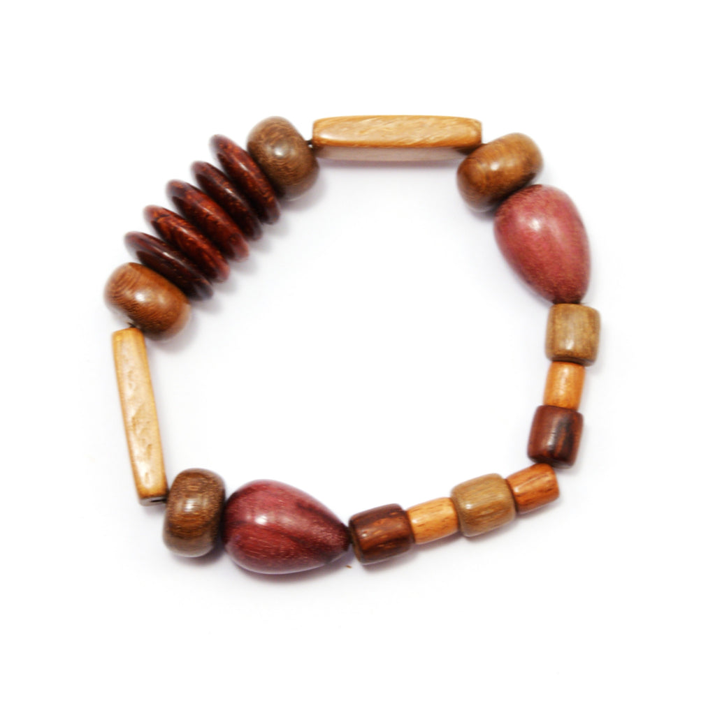 TICA SURF Unique exotic wood bracelet - Multiple beads teardrop S