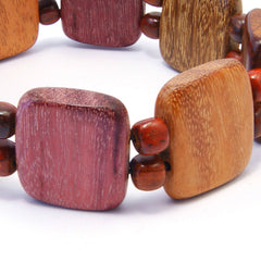 TICA SURF Unique exotic wood bracelet - Multicolor squares M