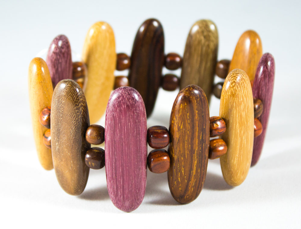 TICA SURF Unique exotic wood bracelet - Multicolor Arrows M - EE1714 - TicaSurf USA