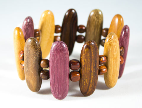TICA SURF Unique exotic wood bracelet - Multicolor arrows M