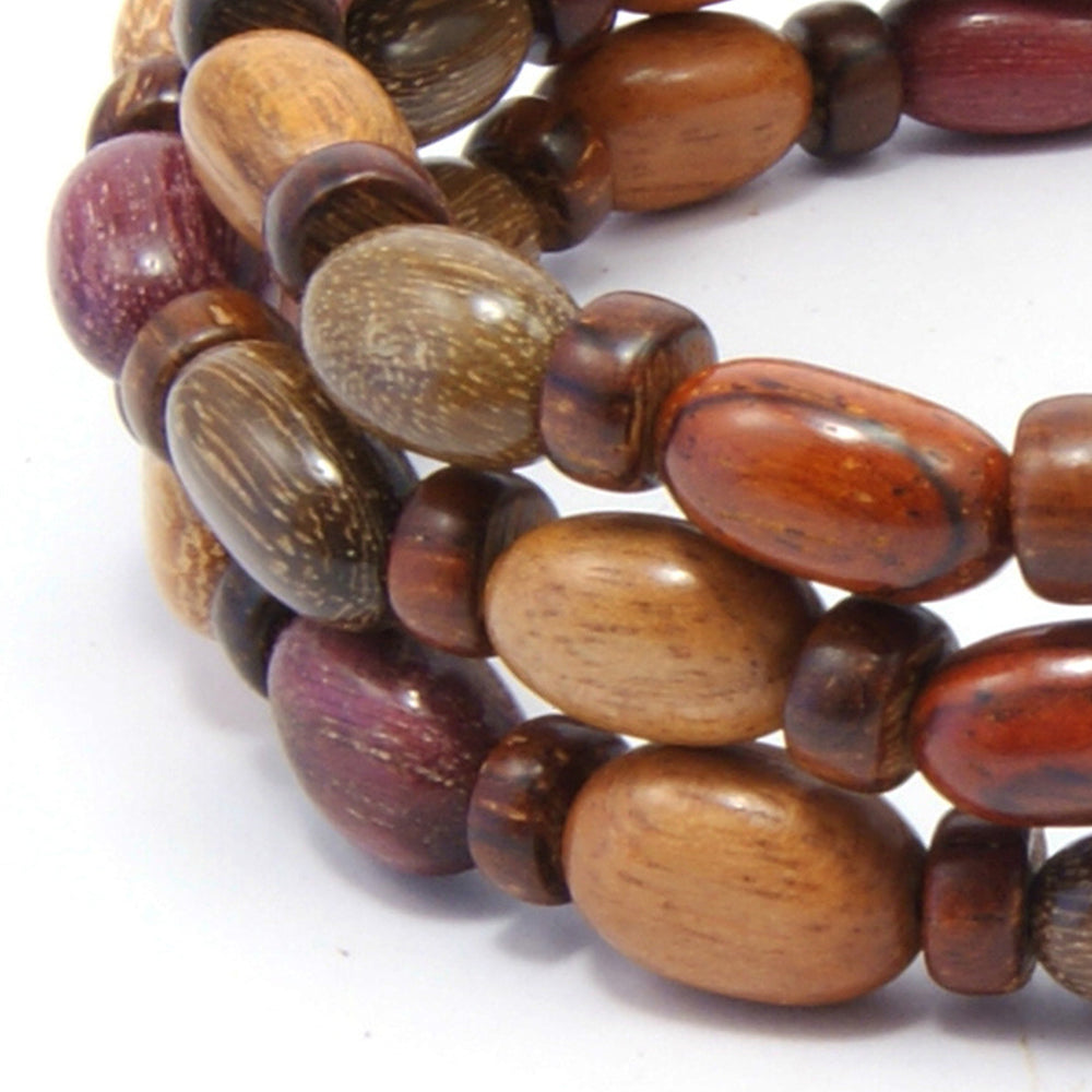 TICA SURF Unique exotic wood memory wire bracelet - Oval micro beads - EE17301 - TicaSurf USA