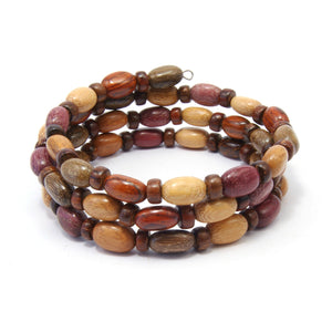 TICA SURF Unique exotic wood memory wire bracelet - Oval micro beads - EE17301
