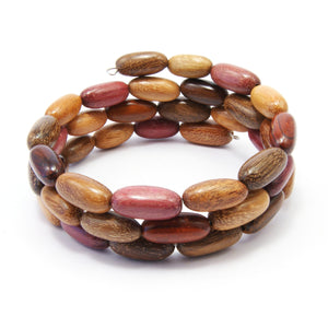 TICA SURF Unique exotic wood memory wire bracelet - Multicolor oval beads - EE17303