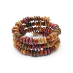 TICA SURF Unique exotic wood memory wire bracelet - Multicolor micro discs - EE17306