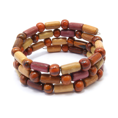 TICA SURF Unique exotic wood memory wire bracelet - Multicolor micro bars
