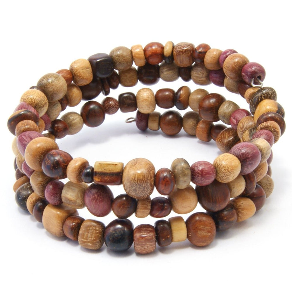 TICA SURF Unique exotic wood memory wire bracelet - Multicolor micro beads - EE17311