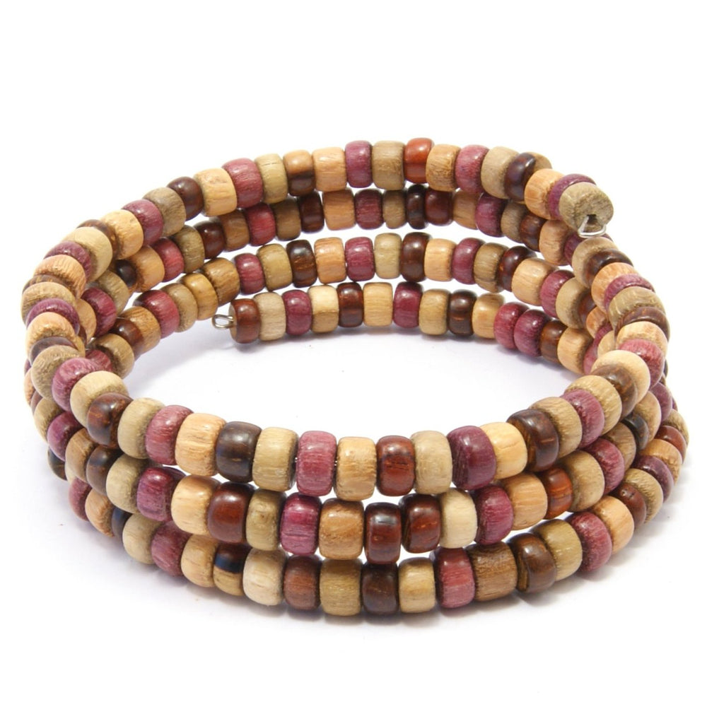 TICA SURF Unique exotic wood memory wire bracelet - Multicolor cylinder beads - EE17312