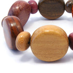TICA SURF Unique exotic wood bracelet - Multicolor Rounds Loose Fitting - EE1741 - TicaSurf USA