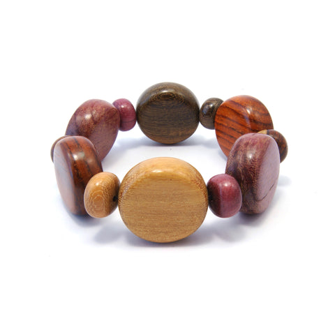 TICA SURF Unique exotic wood bracelet - Multicolor rounds Loose Fitting