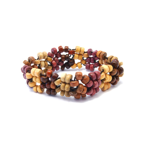 TICA SURF Unique exotic wood bracelet - Multicolor busy beads M
