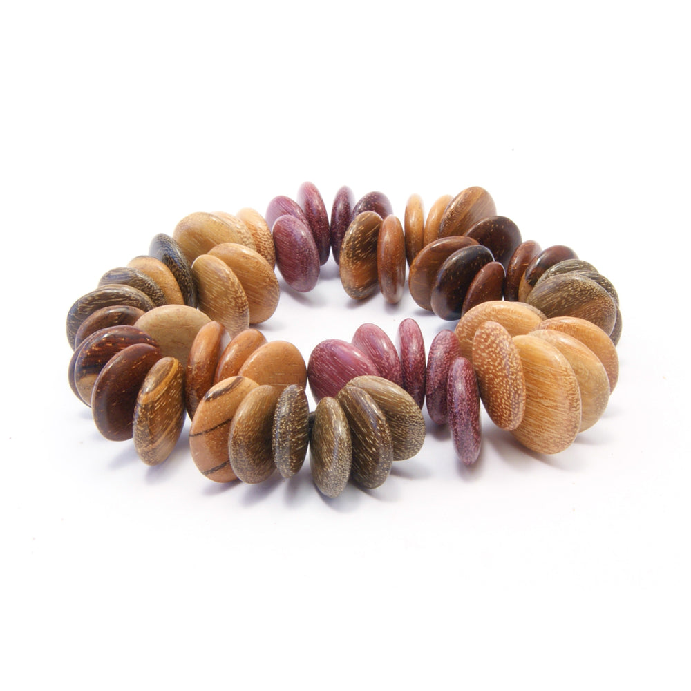 TICA SURF Unique exotic wood bracelet - Wavy Flat Multi - EE1756