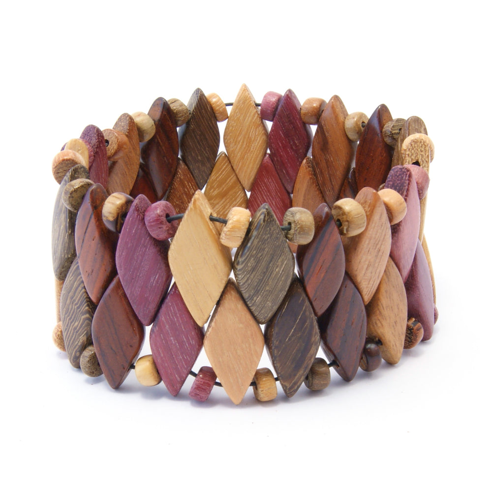 TICA SURF Unique exotic wood cuff bracelet - Multicolor Diamonds L - EE1806 - TicaSurf USA