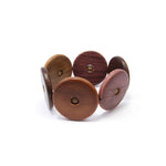 TICA SURF Unique exotic wood cuff bracelet - Multicolor wheels L - EE1810