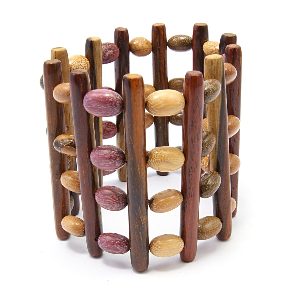 TICA SURF Unique exotic wood cuff bracelet - Multicolor Beaded Bars L - EE1812