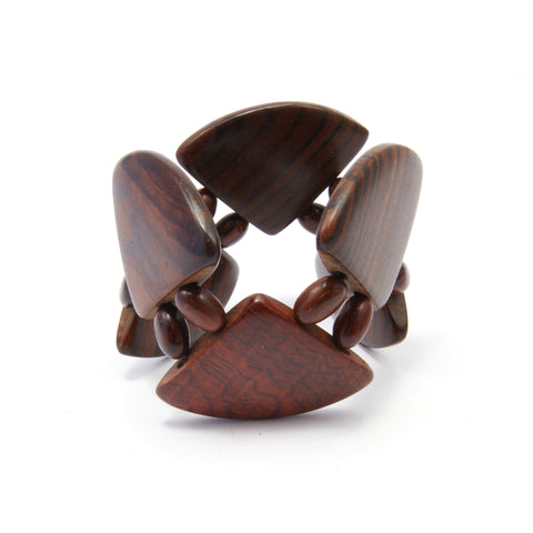 TICA SURF Unique exotic wood cuff bracelet - Dark pyramid L