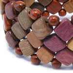 TICA SURF Unique exotic wood cuff bracelet - Multicolor mini squares L - EE1824 - TicaSurf USA