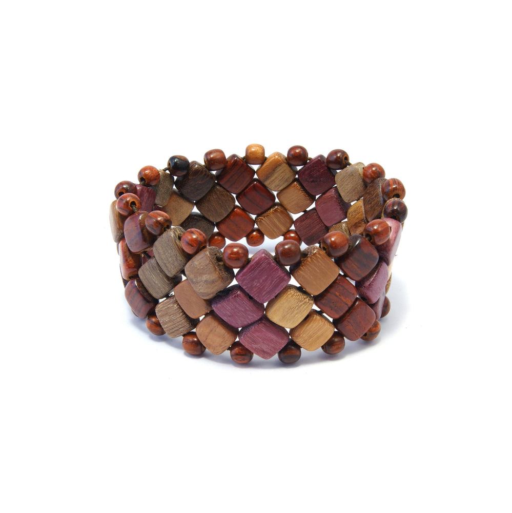 TICA SURF Unique exotic wood cuff bracelet - Multicolor mini squares L - EE1824